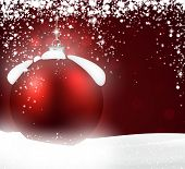 Red bauble. Winter background with snowfall. Vector illustration.