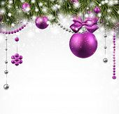 Winter background with spruce twigs and purple baubles. Christmas vector illustration. Eps10.