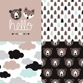 Woodland animal bear and fox friends postcard and seamless background pattern clouds and forest in vector