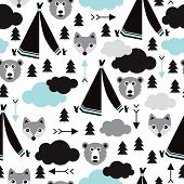 picture of teepee  - Seamless geometric winter woodland animals illustration teepee tent arrows and clouds background pattern in vector - JPG