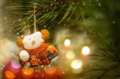 Christmas Tree Decoration With Toys Snowman