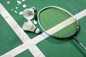 image of shuttlecock  - stock photo of Badminton court with a shuttlecocks and Racket at the corner - JPG