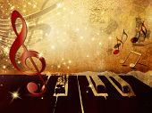 pic of clefs  - Music background with piano keys - JPG