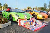 Lamborghini Gallardo With Gifts On Display