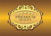Golden Premium Quality Stamp Vector Illustration