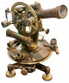 Old Brass Theodolite Isolated with Clipping Path