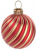 Christmas Ball New Years Eve Bauble Decoration Red Gold