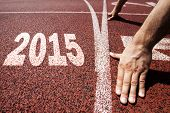 happy new year 2015 - hands on starting line