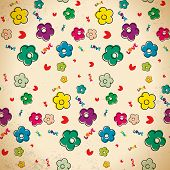 Seamless Pattern Of Hand Drawn Flowers In Vintage Style