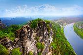 Beautiful view of Bastei rocks, Sachsische Schweiz