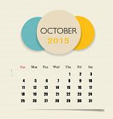 2015 calendar, monthly calendar template for October. Vector illustration.