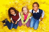 Group of kids sitting on autumn leaves