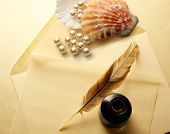 picture of inkwells  - Blank envelope with inkwell feather and pearl - JPG
