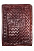 stock photo of passport cover  - vintage passport cover leather brown id antique - JPG