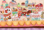 Dessert City Traditional Illustration