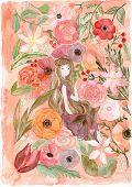 Girl And Flower Illustration