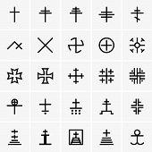 stock photo of maltese-cross  - Set of Christian crosses on grey background - JPG