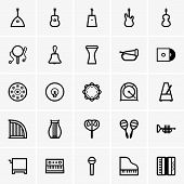 pic of drum-set  - Set of many different Musical Instruments Icons - JPG