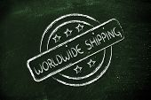 Round Stamp Logo With Worldwide Shipping