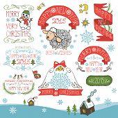 Vintage New Year,Christmas Calligraphic badges set