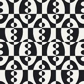 Abstract Ellipse and Square Pattern. Vector Seamless Background in Black and White.