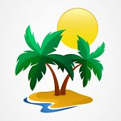 Green Palm-tree On The Tropical Island. Vector Illustration. Concept For Travel Agency, Tropical Res