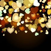 Shiny Background With Abstract Glowing Hearts. Vector Holiday Background. Valentines, Wedding Greeti