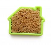 Slice of bread in house form