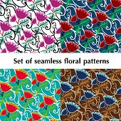 Set Of Seamless Floral Patterns.eps