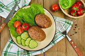 Cutlets With Buckwheat And A Side Dish Of Vegetables