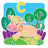 stock photo of calf cow  - Children vector illustration of little funny cow or calf running along the path - JPG