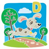 Funny Little Dog Or Puppy. Alphabet D