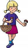 Girl Picking Mushrooms