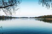 Silent Coastal Landscape. West Lake Park In Hangzhou