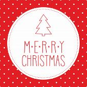 Vector card with christmas tree and hand drawn Merry Christmas wishes and white polka dots