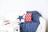 Apartment interior in white color with bright decorative elements