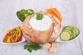 bread bowl, vegetable and dip