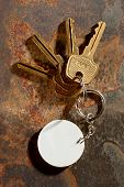 Keys With Ring On The Rusty Background