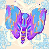 Abstract Butterfly With Flowers