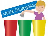 Illustration Of A Boy Waste Segregation Trashs