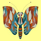 Abstract Butterfly On A Yellow Background