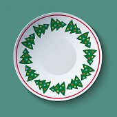 Ceramic Plate With Christmas Trees Ornament