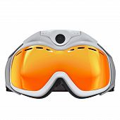 stock photo of goggles  - Ski goggles white plastic - JPG