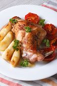 Rabbit Leg Roasted With Apples And Tomatoes On A Plate Closeup. Vertical