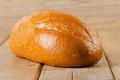 Fresh White Bread On  Wooden Background