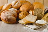 Fresh Healthy Natural Bread On  Wooden Background