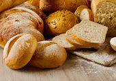 Healthy Natural Bread On  Wooden Background