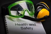 image of goggles  - Health and safety register with goggles and earphones - JPG