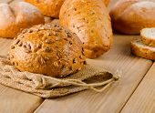 Fresh Healthy Natural Bread On  Wooden Board