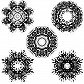 A round set of black ornaments